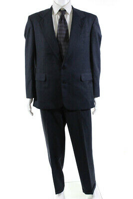 Executive Collection By Tom James Mens Two Button Blazer Suit Blue Wool Size 44