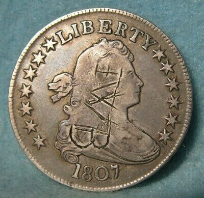 1807 Draped Bust Silver Half Dollar FINE Details * United States Coin