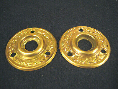 Nice Pair Antique Brass Eastlake Door knob Rosettes Backplates Escutcheons Roses