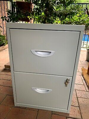 2 Drawer Lockable Filing Cabinet Grey