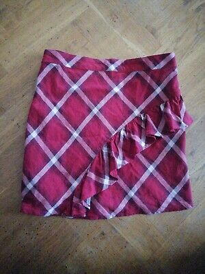 Marks & Spencer Girls Frill Tartan  plaid Check Skirt age 10-11