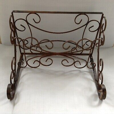 Vintage Salvage Wrought Iron Hat Rack Hallway Shelf Rusty Garden Shabby Chic