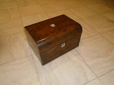 Antique  Walnut Jewellery Box  Sewing Box Desk Top  Mother Of Pearl  Drawer  Key