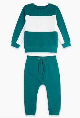 Baby Boys Colour Block Outfit 9-12 Months Marks & Spencer Green Mix Comfy