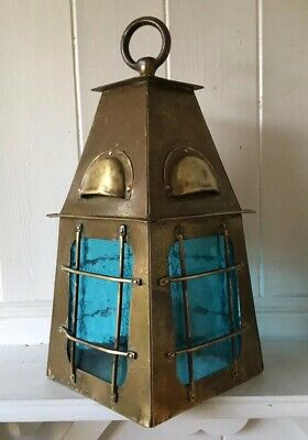 Original Vintage Arts And Crafts Brass Lantern With Blue Glass (Needs Wiring)