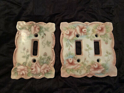 2 Vintage Porcelain Light Switch Plate Covers Pink Roses Single & Double LOVELY