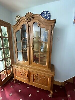 Beautiful Carved Oak French Vitrine Display Cabinet Louis Style