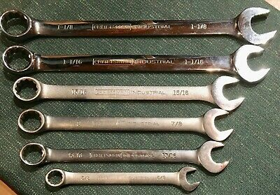 Jumbo 6 Mixed 12 Point Craftsman Industrial Sae Combination Wrenches Usa