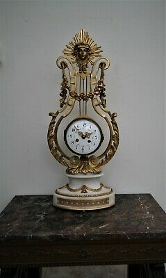 Tall Fine French Gilded Ormolu And Naxos  Marble  Lyre Mantle Clock