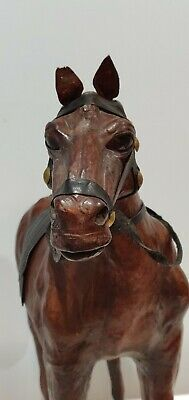 "Large Vintage Leather Horse Statue Fiqure with Glass Eyes and Saddle, 18"" Tall"