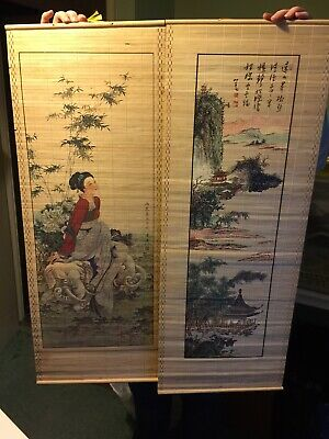 Two Oriental Bamboo Wall Hangings