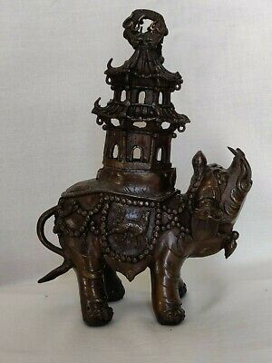 ANTIQUE CHINESE QING BRONZE ELEPHANT with PAGODA INCENSE BURNER