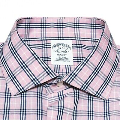 Brooks Brothers All Supima Mens 16-32 Slim Fit Non Iron Pink Navy Burberry Check