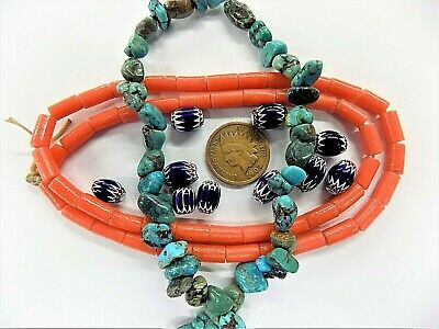 Vintage Faux Coral  Turquoise Italian Chevron Trade Beads antique style SH90210