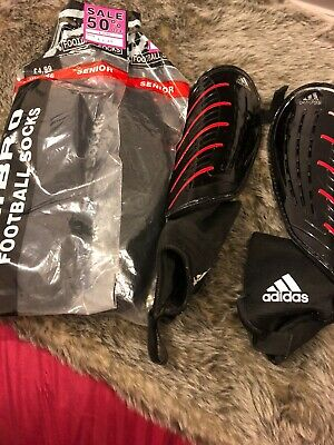 Adidas mens football shin pads Black Red - 2 X Free Football Socks Included