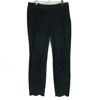 J by J Crew Pants Black Straight Scalloped womens size 4 Ankle Winnie Cotton