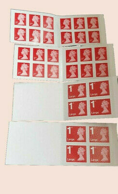 Genuine RoyalMail 1st class Book of 2 x12 (24 Stamps) 2x4 Large Letter(8 stamps)