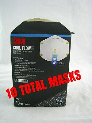 3M 8511 N95 Particulate Respirator W/Exhalation Valve 1 Box of 10 Masks IN STOCK