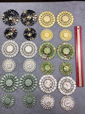 Lot of 24 Anna Griffin Handmade Rosettes Card Making Scrapbooking