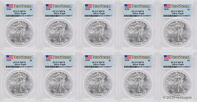 2020 $1 American Silver Eagle PCGS MS70 First Strike - Lot of 10