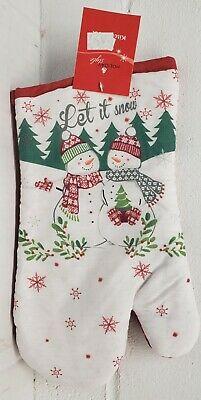 LET IT SNOW SNOWMAN CHRISTMAS WINTER Fabric Tapestry Kitchen Oven Mitt