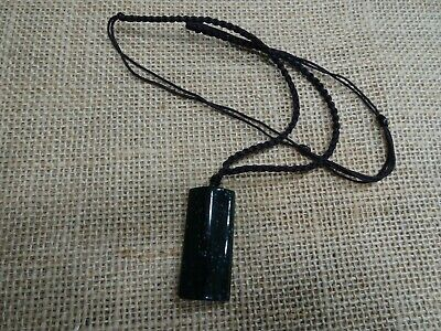 Chinese natural black green jade jadeite pendant / A