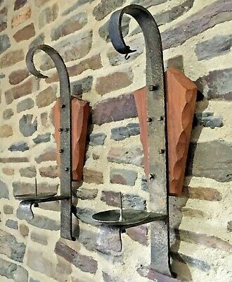 PAIR FRENCH Vintage Wrought Iron & OAK CANDLE HOLDERS WALL SCONCES GOTHIC STYLE