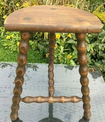 Vintage French Stool Half Moon 3 Legged French Handmade 3 Bobbin Legs