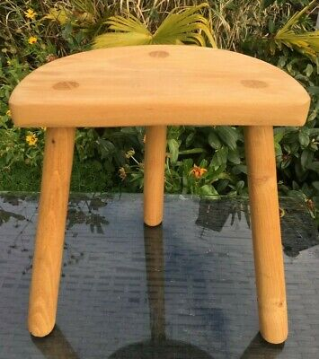 Milking Stool Half Moon French Handmade Straight Oak Legs Chestnut Top / Seat