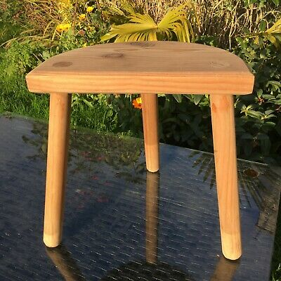 Pine Milking Stool Half Moon French Handmade Straight Legs