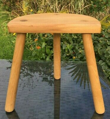 Oak Milking Stool Half Moon French Handmade Straight Legs