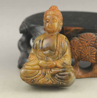 Old Chinese natural jade hand-carved statue of buddha pendant