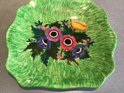 Maling square lustre anemone green with floral design ID# 6533