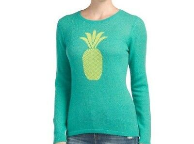 New Hannah Rose Women Green Yellow Pineapple 100% Cashmere Sweater Large