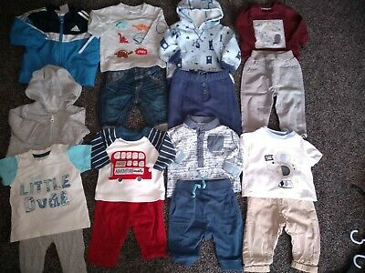 Baby boys bundle of 2 jackets, jumper, 6 tops & 7 joggers & jeans 0-3 months