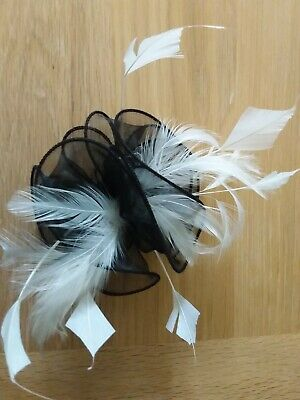 fascinator Black And White  hair Clip