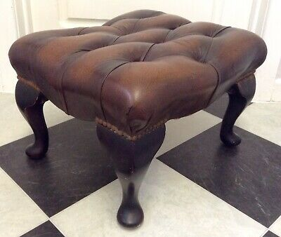 Vintage Antique Studded Brown Leather Chesterfield Foot Stool - Nice!