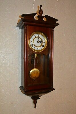 A Good Small 8 Day Mahogany Style Cased Gong Strike Wall Clock + Key *Re Oiled*