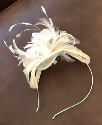 Cream Feather fascinator Worn Once For Wedding - Excellent Condition