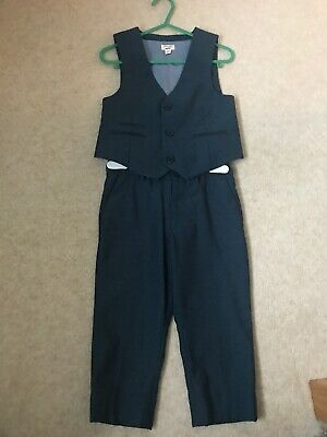 River Island Mini Boys Blue Suit - Waistcoat And Trousers