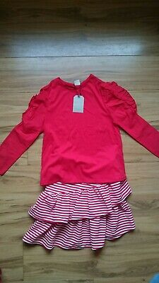 Zara Girls Red White Stripy Top And Skirt 2 Piece Co Ord 11-12 Years