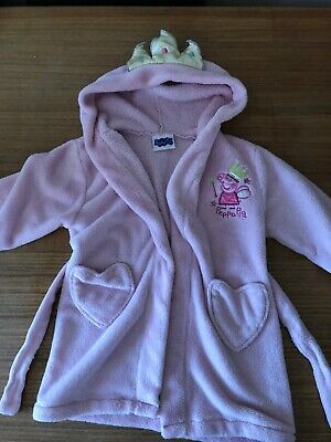 Peppa Pig Dressing Gown, pink, princess crown, age 3-4, used - good condition