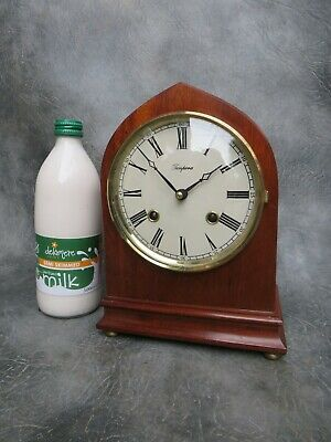 A Good Tempora Mahogany Lancet Cased Double Bell Strike Mantle Clock *Serviced*