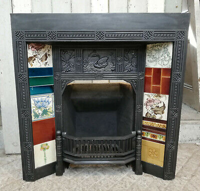 AESTHETIC MOVEMENT ANTIQUE VICTORIAN TILED CAST IRON FIRE FRONT Ref FF0012