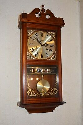 A Good Highlands 8 Day Gong Strike Mahogany Wall Clock With Day Date Calendar