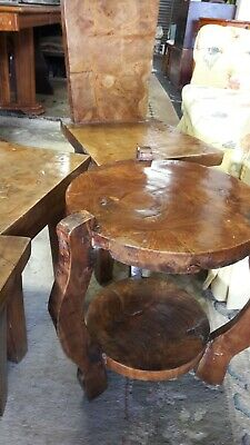 3 Quirky Chunky Solid Walnut Chairs With Side Table