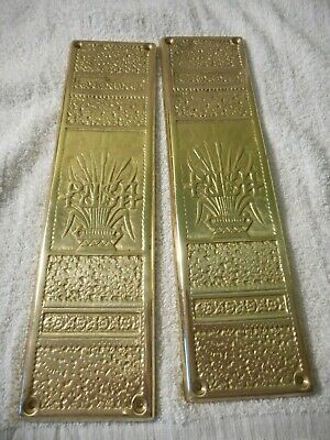 Pair Of Vintage Solid Brass Door Cover Plates