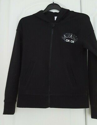 Girls Lonsdale zip up hoodie top black with silver logo Age 13 years