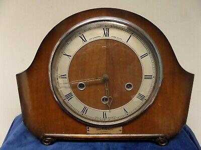 VINTAGE BR - LMR - 45yr SERVICE, WESTMINSTER CHIME MANTLE CLOCK FOR REPAIR. RARE