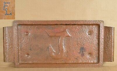 Large 1910s Arts & Crafts hammered copper TRAY marked FL